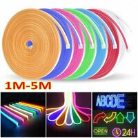 Modern DC 12V Flex LED Strip Neon Rope Light Silicone Outdoor Sign Decor 1M-5M