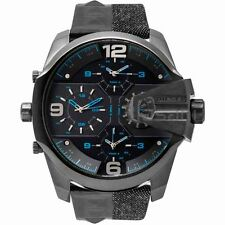 Diesel Original Mens DZ7393 Uber Chief Black Denim/Leather Strap Watch 55mm
