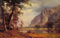 Oil painting Albert Bierstadt Yosemite Valley nice landscape free shipping 36""