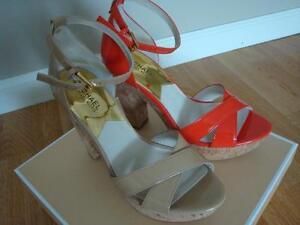 NIB NEW Michael Kors Camilla Platform Strappy Sandals NUDE ORANGE Size 6-10