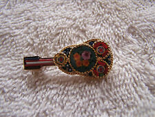 Vintage Colorful  Micro Mosaic Pin Italy Mandolin