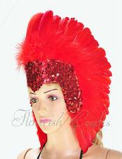 Red sequins las vegas dancer showgirl feather headpiece headdress