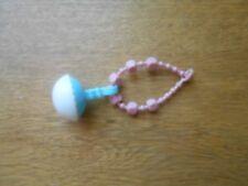 Vintage My Little Pony MLP G1 Baby necklace blocks Rattle blue pink