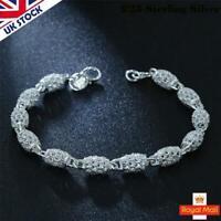 UK Boho Vintage Silver Pendant Bangle Bracelet Beaded Cuff Charms Womens Jewelry