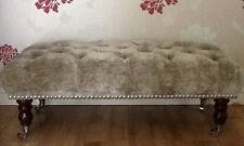 A Quality Long Deep Buttoned Footstool In Laura Ashley Caitlyn Silver Fabric