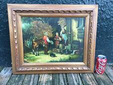 Old world village, hunting, family oil painting by Paul Vosman framed.