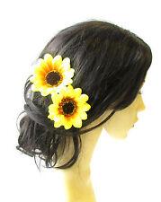 2 x Large Yellow Sunflower Flower Hair Pins Vintage Rockabilly Clip 1950s 1479