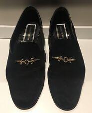 CESARE PACIOTTI Black Suede Loafers w/ Gold + Swarovski Detailing - Mens Size 12