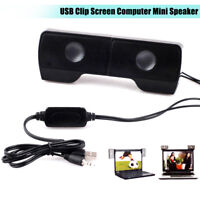 Mini USB Clip-on Sound Bar Stereo Speaker Portable for Notebook Laptop MP3 PC
