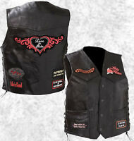 Black Leather Ladies Motorcycle Vest Lady Rider with Biker Patches Laced Women