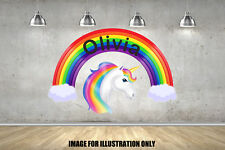 Rainbow Unicorn Personalised NAMED Text Childrens Wall Stickers Kids Decals