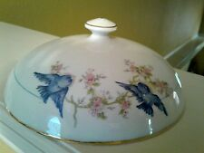 EXTREMLY RARE ! HOMER LAUGHLIN BLUE BIRD PATTERN BUTTER DISH COVER/LID  (ONLY)