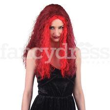 Lungo Rosso MAGA Parrucca Diavolo gotico STREGA HALLOWEEN FANCY DRESS ACCESSORIO