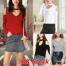 Womens Cold Shoulder Choker V-neck halter strapless long-sleeved T-shirt top