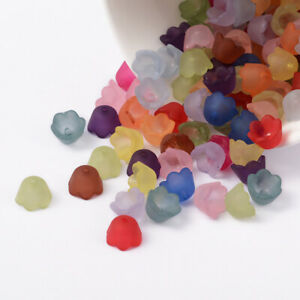 125+ Transparent Frosted Color Mix Acrylic Flower Bead Caps Jewelry Craft 10x6mm