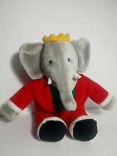 "Vintage Gund Christmas BABAR The King Plush Elephant 14"" 1988 Red Holiday Macys"