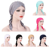 Women Muslim Head Scarf Bead Cap Chemo Hat Turban Bandana Hair Scarf Cancer Hat