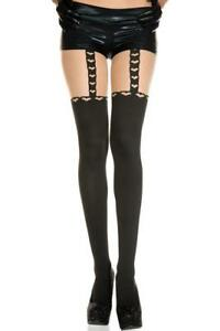 sexy MUSIC LEGS heart SUSPENDER faux THIGH highs SPANDEX tights PANTYHOSE nylons