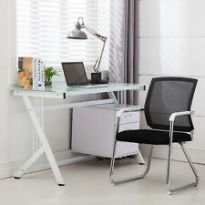 Computer Desk PC Table Glass Top & Side Drawer Home Office Workstation White