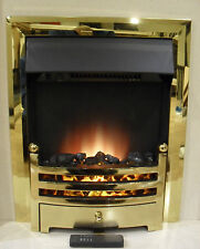 ELECTRIC BRASS GOLD SURROUND REMOTE CONTROL FIREPLACE FLAME INSERT INSET FIRE