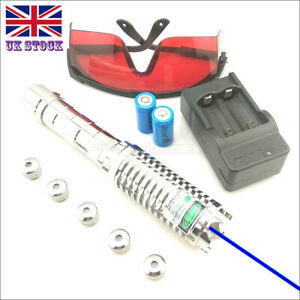 SBX9-C 1MW 450nm Blue Laser Pointer Visible Lazer Pen&Battery&Charger&Goggles UK