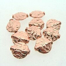 Copper Indian Patterned Disc Beads ( Set of 10 ) Metal Beads