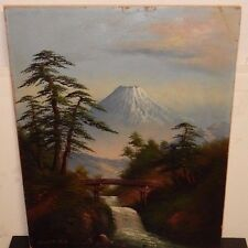 OLD JAPANESE OIL ON BOARD FUJI MOUNTAIN BRIDGE LANDSCAPE PAINTING SIGNED