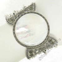 Sterling Silver Marcasite Large Round Mother of Pearl Multi Strand Wide Bracelet