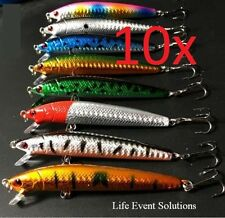 8+2 Fishing Lures, 10cm Long Flash Minnow, Top Quality Diving  Barra Mackeral