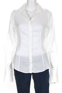 Anne Fontaine Womens Button Down Striped Top White Size 38