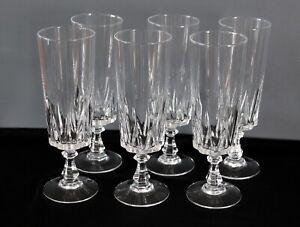 6 flûtes à champagne en cristal d'Arques modèle Louvre