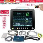 12'' Medical ICU Portable Patient Monitor Vital Signs SpO2 PR NIBP ECG TEMP RESP