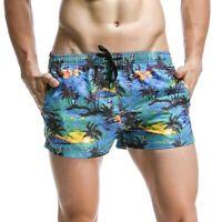 SEOBEAN New Men's swimwear shorts casual summer beach pants Board Shorts blue