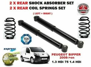 FOR PEUGEOT BIPPER 1.3 1.4 HDi 2008-> 2X REAR SHOCK ABSORBERS + COIL SPRINGS SET