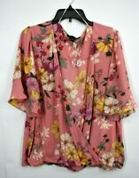 Sanctuary Womens Pink Floral Surplice V-Neck Short Sleeves Garden Wrap Top XL