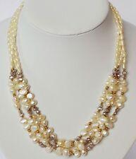 Halskette Perlenkette 4-reihig 14 Karat 585 Gold Flussperlen Akoya Perlen 52 g