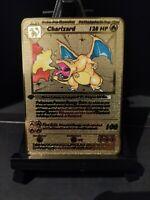 Pokemon Fan Made - Custom Gold Metal Cards - Charizard