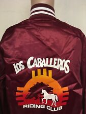 VTG 80s LOS CABALLEROS HORSE RIDING CLUB NEW MEXICO SATIN BOMBER ZIA USA L