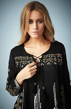 Kate Moss Topshop Floral Embroidered Sequin Smock Blouse Black 10 12