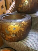 Two antique, matching hibachi with decorative mother of pearl
