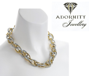 Two tone gold and silver colour chain necklace UK SELLER