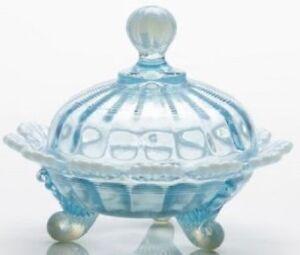 Covered Candy Dish / Berry Bowl - Aqua Blue Opalescent Glass - Mosser USA
