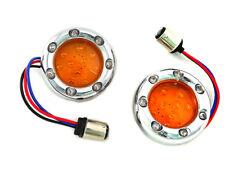 Chrome LED Turn Signal Bezel with Amber Lens For Harley-Davidson