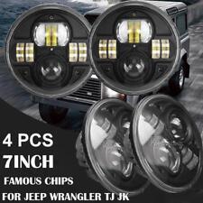 4PCS 7inch 200W CREE HI-LO Beam Halo LED Headlight For Jeep Wrangler JK 2007-17