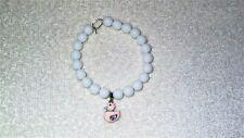 Pink Rubber Ducky Duck Bird Bath Cute Stretch Charm Bracelet Jewelry White Onyx