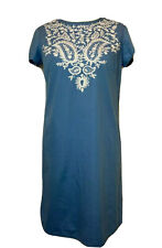 Agnes B Dress Size Medium Blue Cotton White Embroidery Detail