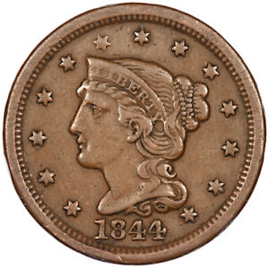 1844 Braided Hair Large One Cent USA 1c ~ Good Grade