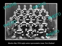 OLD POSTCARD SIZE PHOTO OF HAWKES BAY RUGBY UNION TEAM 1936 NEW ZEALAND