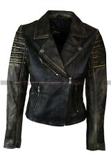 Women Cafe Racer Vintage Biker Distressed Black Vintage Real Leather Jacket