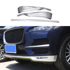 For Jaguar F-PACE 2017-2021 Matte Silver Front Bumper Bottom Protector Strip 3pc